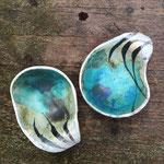 Steinzeug, Oxyde, glasiert  je 18 x 14 cm  H: 8 cm