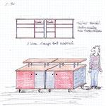 mein Wunschentwurf - Material: rote Dokaplatten und Massivholz, Rollen als Füsse.  Die mittleren Türen gefüllt mit meinen Bildfliesen.