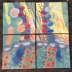 Bilder aus frühsinterndem Ton mit selbst hergestellten Farben, gebrannt bei 1140 Grad.