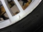 アウディ・A4・Sライン の純正18インチホイール4本の1本目ガリ傷・擦りキズ・欠けのリペア(修理)前アップ写真③