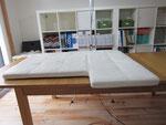 レザー(革張り)ソファ汚れ・黄ばみ・シミ・傷・等の写真例24、クリーニンング・保湿・劣化補修前