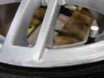 アウディ・A4・Sライン の純正18インチホイール4本の3本目ガリ傷・擦りキズ・欠けのリペア(修理)前アップ写真