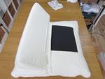 レザー(革張り)ソファ汚れ・黄ばみ・シミ・傷・等の写真例⑭、クリーニンング・保湿・劣化補修前