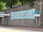 Das berühmte Namensschild von Cherbourg heute