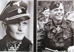 Obersturmführer Karl-Heinz Boska, Kommandeur der 6./SS.Pz.Reg 2 (links) sowie Ritterkreuzträger Oberscharführer Johann Thaler