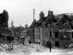 Das zerstörte Hotel de la Victoire in Sainte Sauveur le Vicomte