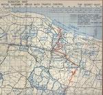Weg der 3rd AD von ihrer Landung am Omaha Beach (Dog White) zu ihrem ersten  Einsatz