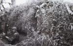 Graben von Schützenlöchern in einer Bocage-Hecke