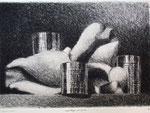 Coquillages et boîtes, eau-forte, 48x60 (avec cadre)