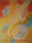 """""""Freude"""" Acryl, Pigmente auf Nessel, Ölkreide, 80 x 100, mit Schattenfugenleiste"""