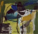 """Ohne Titel"", Acryl, Pigmente,Ölkreide auf Nessel, 70 x 80, mit Kupferrohrahmen"