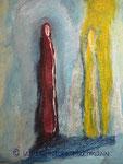 """""""Wisdom"""" , Acryl, Pigmente, Ölkreide, Sand auf Nessel, 80 x 60"""