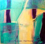 """Sommerblau"" , Acryl, Pigmente, Ölkreide auf Nessel, 120 x 120"
