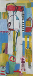 Amors Pfeil trifft..., 135 x 60 cm, 2018, Acryl, Kreide