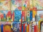 Bilderkombination - Aquarell auf Leinwand, 12x20x20cm, gerahmt, 880,00 Euro
