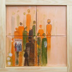 Aquarell auf Leinwand, 4 Bilder 20x20cm im Rahmen, verkauft