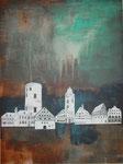 Zeugen der Verhangenheit, Acryl-Collage, 60x80cm, gerahmt, 460,00 Euro