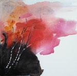 schwarzrote Blumen - Aquarell auf Leinwand, 80x80cm, 660,00 Euro