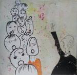 Chor, Zeichnung unter Wachs, 40x40cm, 220,00 Euro