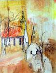 Kirche Bartenbach, Aquarell, verkauft