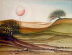 Landschaft mit Sonne, Aquarell 1983, 39x29cm, verkauft