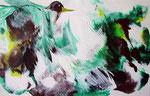 Vögel grün, Acryl, 36x24cm, 240,00 Euro