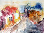 Alte Dorfstraße, Aquarell auf Leinwand, 47x36cm, 460,00 Euro