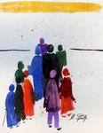 Menschen, Aquarell auf Leinwand, 23,5x30,5cm, verkauft