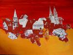 geordnetes Chaos rot, Acryl, 140x100cm, verkauft