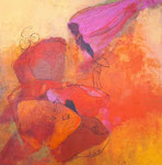 Blumenkinder, Aquarell auf Leinwand, 90x90cm