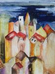 Stadt unter dem Himmel, Aquarell auf Leinwand, 60x80cm