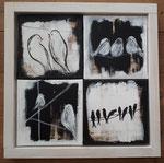 Vögel, Mischtechnik auf Leinwand, 4 Bilder 20x20 im Holzrahmen, 340,00 Euro