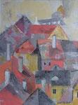 Über den Dächern o.B., Acryl, 65x85cm, verkauft