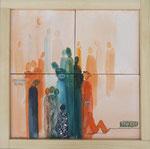 Andere Menschen, Aquarell auf Leinwand, 4 Bilder 20x20cm zusammengesetzt 40x40cm, verkauft