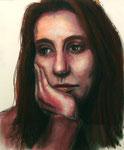 """""""Thinking"""", Tinte, Kohle und Pastell auf Papier, 30 x 40 cm, 250 Euro"""