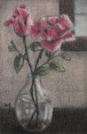 """""""Flowers"""", Kohle und Pastell auf Papier, 10 x 12,5 cm, verkauft"""