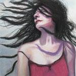"""""""Catching the wind"""", Kohle, Tinte und Pastell, 40 x 40 cm, verkauft"""