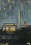 """""""D.C. @ night"""", Kohle und Pastell auf Papier, 10 x 12,5 cm, verkauft"""