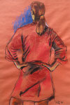 """Red Robe"", Mixed Media auf Papier, 60 x 75 cm, 100 Euro"