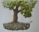 """Tree of life"", Fineliner und Aquarell, 50 x 50, 250 Euro"