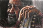 """""""The Blues"""", Tinte, Pastell und Kohle auf Papier, 40 x 30 cm, verkauft"""