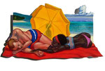 Die Familie am Strand, 33X60cm, Acryl auf Leinwand auf aluminiumplatte