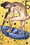 N13. Die Jagd einer Nue im Boot auf Narzissen mit Kohle