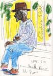 Creole in St. Pierre, La Réunion, 14X21cm, Artist Pen, Buntstift auf  Papier