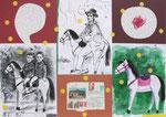Hopa-hopa Reiter!  50X71cm Mischtechnik, Collage auf Karton, 1993