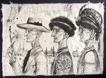 Drei Portraits von Hermann Hesse,  50X75cm, Tusche, Blattgold auf Himalayapapier, 1996