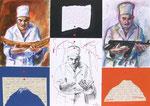 Unser tägliches Brot  50X71cm Mischtechnik, Collage auf Karton, 1993