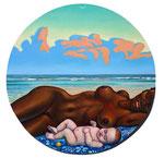 Sonne, Mond, Tag und Nacht,   47cm,  Acryl auf Leinwand auf Aluminiumplatte