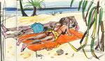Am Strand von St. Pierre, La Réunion,14X20cm, Artist Pen, Buntstift auf  Papier