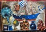 Griechisches Stilleben,  72X102cm, Ölpastell auf Karton